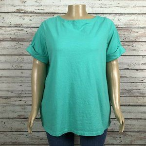 Woman Within Green Cuffed Sleeve T-shirt PLUS